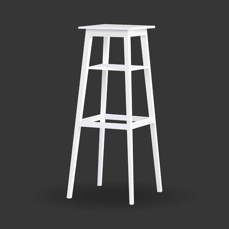 white vector high chair stool shelves on black