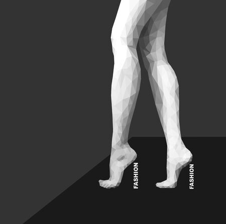 naked woman  white background: polygonal female legs standing on tiptoes monochrome fashion