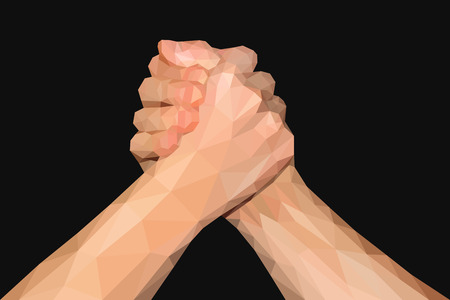 fist up: polygonal hand handshake friendly arm wrestling fist up on black