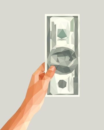 left: money polygonal left hand