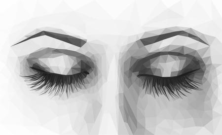 long eyelashes: polygonal female eyes closed with long eyelashes monochrome Stock Photo