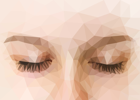 eye 3d: polygonal eyes closed high precision Stock Photo