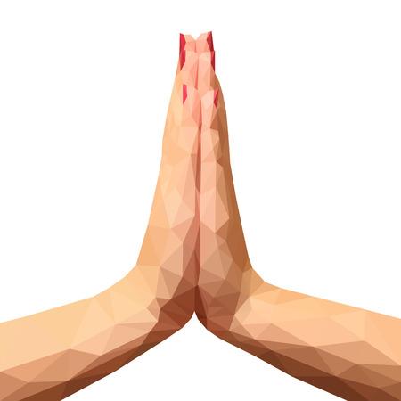 Polygonal Hände durch das Gebet oder Gruß Hände gefaltet Standard-Bild - 55330862