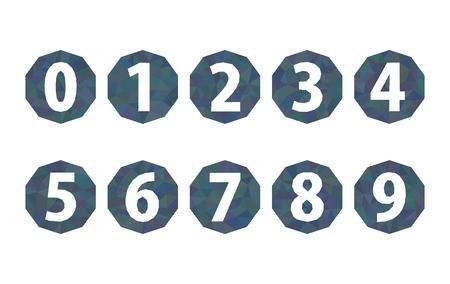 web 2 0: set of numbers polygonal dark blue 1234567890 Stock Photo