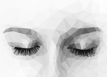 occhi chiusi poligonali in bianco e nero