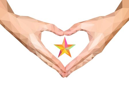 folded hands: polygonal hands folded isolated heart with star inside