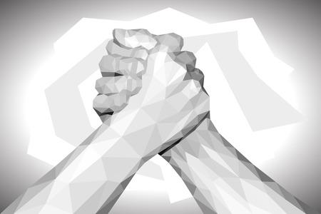 team hands: polygonal hand handshake friendly arm wrestling fist up on black