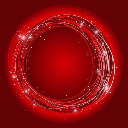 luminous: abstract spiral curl luminous stars red Stock Photo