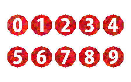 set polygonal numbers 1234567890 ruby red