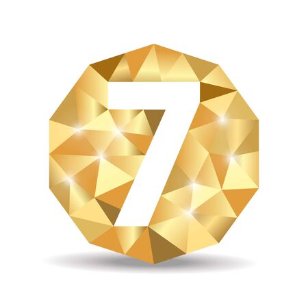 number seven: number seven polygon yellow gold Stock Photo