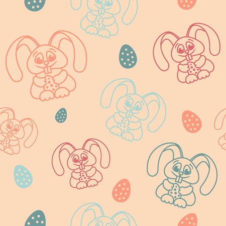 pastel shades: Easter seamless pattern rabbits holding eggs pastel shades