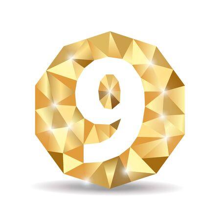 numero nueve: número nueve polígono de oro amarillo
