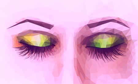 polygonal female eyes closed with long eyelashes purple