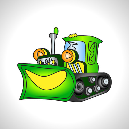 illustration technique: children illustration technique green bulldozer Stock Photo