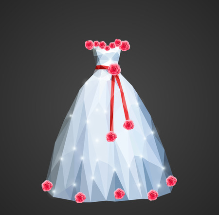 sash: polygonal wedding dress with shining sequins and a red sash and roses