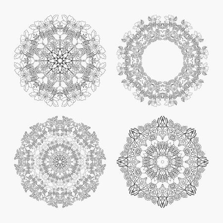 looped: stock set circular pattern looped flowers monochrome Stock Photo