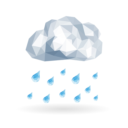 slanting: polygonal cloud isolated on white background with drops of slanting rain Stock Photo