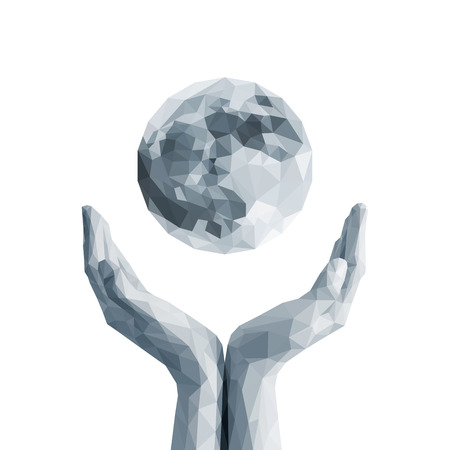 cupping: polygonal full moon in cupped hand monochrome white Stock Photo