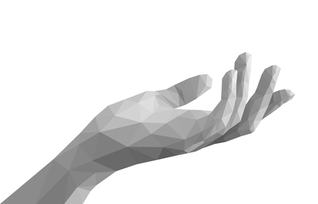 polygonal left hand open empty monochrome