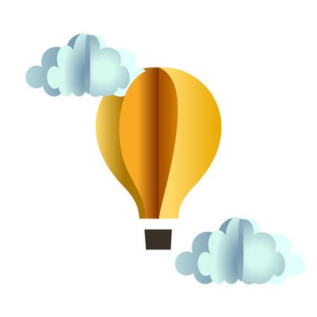 góndola del globo de origami y las nubes de papel amarillo en blanco