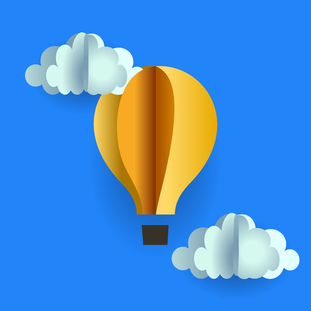 yellow paper: origami balloon gondola and clouds of yellow paper on blue Illustration