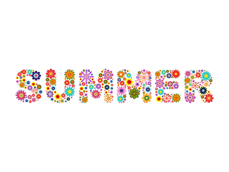 composed: word SUMMER composed of vector flowers on a white