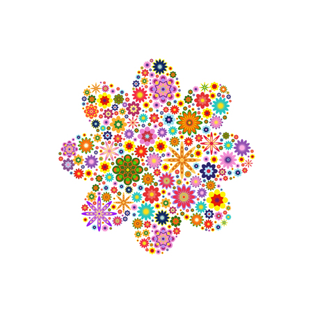 composed: Flower with round petals composed of vector flowers on white