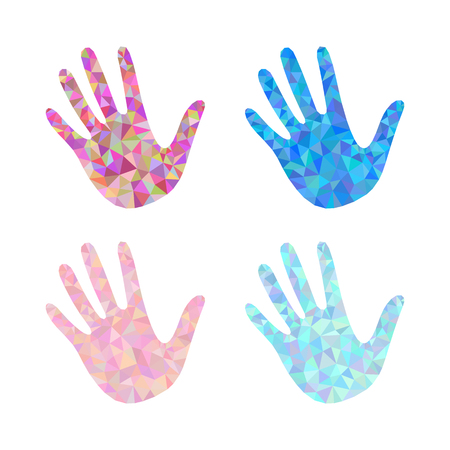 set of 4 open hand bunch of fives polygonal white background 向量圖像