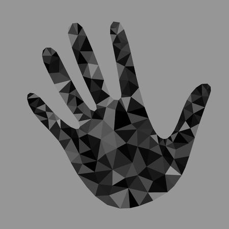manojo mano abierta de los cinco triángulos negros poligonales