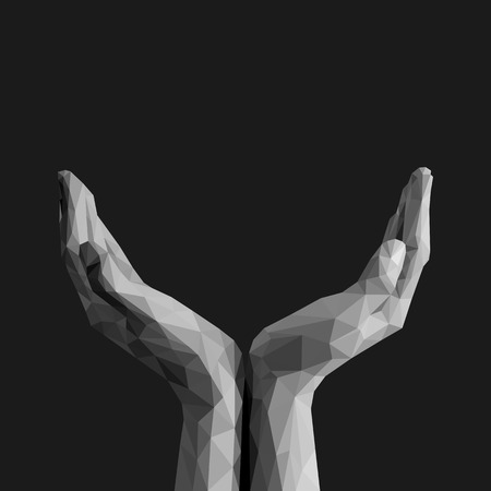 cupped: polygonal open palms cupped hands up empty on black background monochrome Illustration