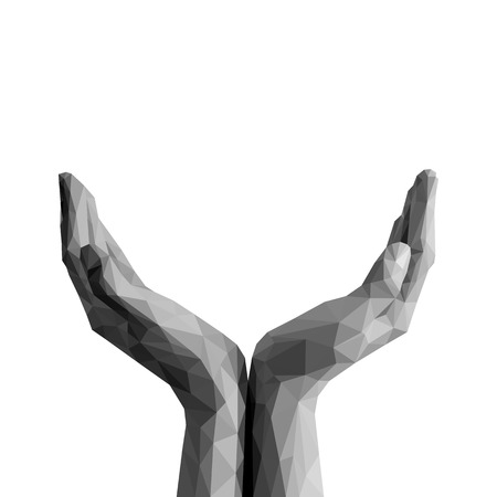 polygonal open palms cupped hands up empty on white background monochrome