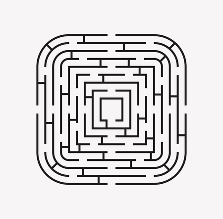 puzzle corners: square with rounded corners maze puzzle find the way black on white