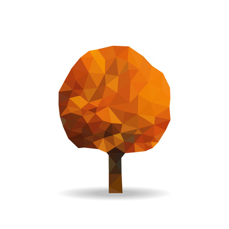 yellowing: polygonal autumn tree with yellowing leaves autumn halloween