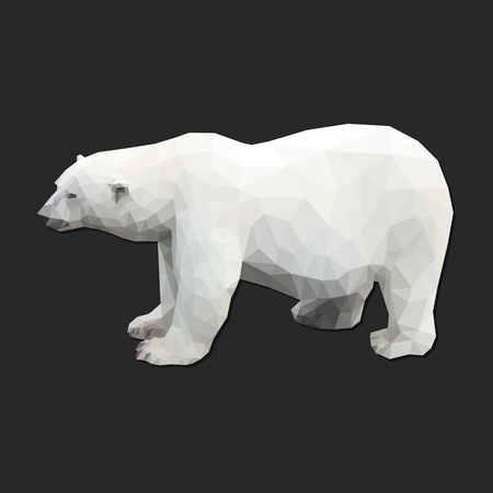 polygonal polar white big bear isolated on dark background