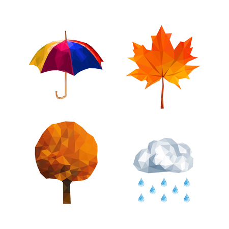 polygon set of elements for the weather forecast in autumn
