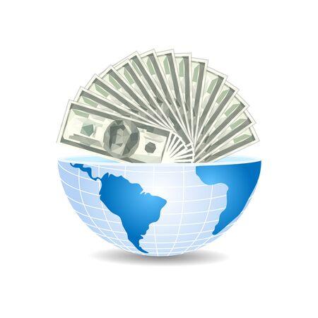 half of the world to the inside full of dollars bills money