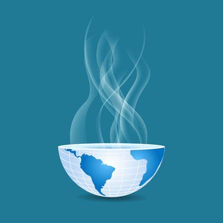 half of the world inside transparent smoke