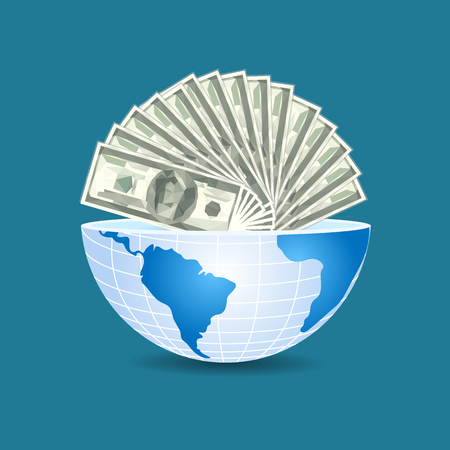half of the world to the inside full of dollars bills money on blue