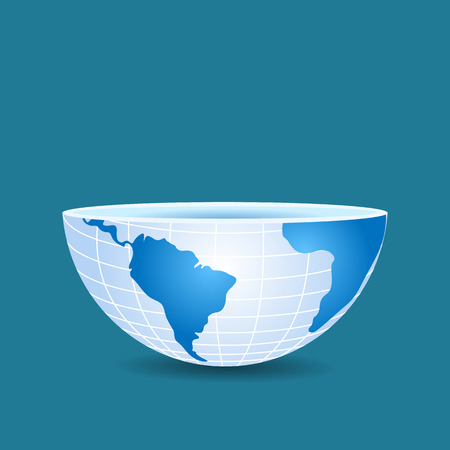 half globe: half of the world like a cup sliced on blue
