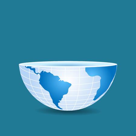metà del mondo come una tazza affettato su blu