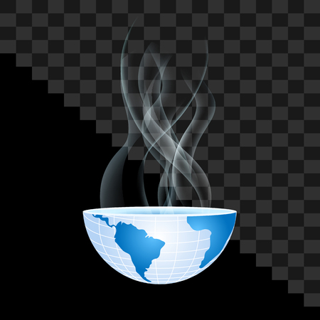 half of the world inside transparent smoke on transparent