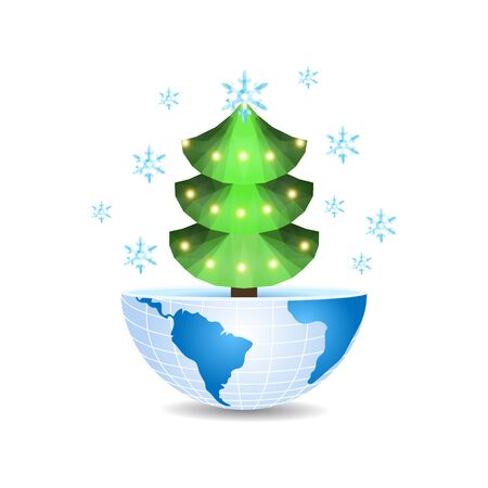 half of the world with a Christmas tree inside