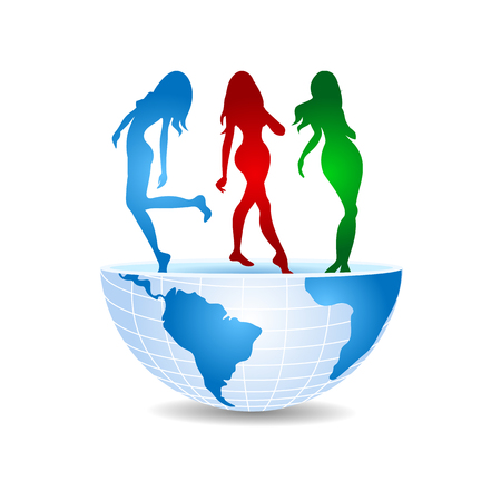 half of the world with three dancing girls