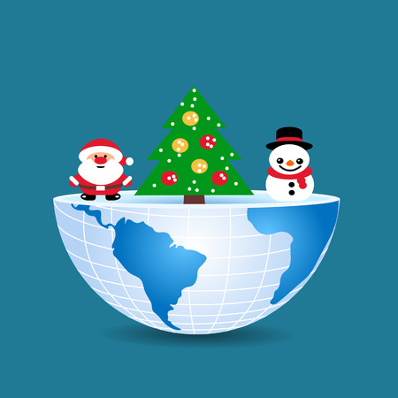 half of the world with inside christmas tree snowman and Santa Claus