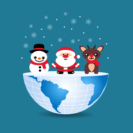 half of the world with inside Christmas deer snowman and Santa Claus on blue Illustration