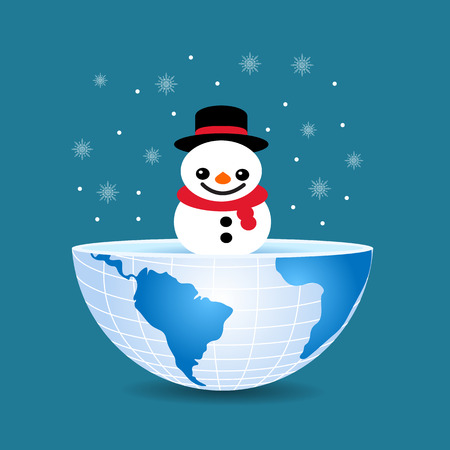 half of the world with inside a Christmas snowman