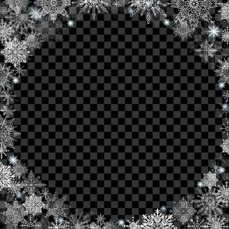 fabulous: fabulous Christmas background with transparent basis and lots of snowflakes around the frame black square Illustration