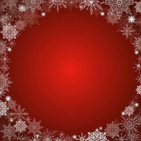 fabulous christmas background lot of snowflakes around the frame red square