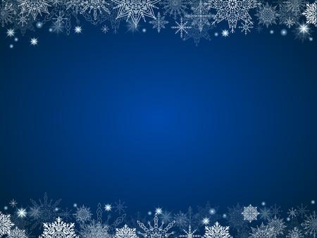 fairytale christmas background many snowflakes frame blue rectangle