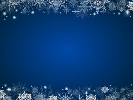 fairytale christmas background many snowflakes frame blue rectangle